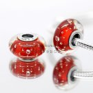 S925 Silver Red effervescence Murano Glass Beads Charms Fits European jewelry DIY Bracelets ZS300