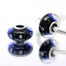 S925 Sterling Silver Starry sky Murano Glass Beads Charms Fits European jewelry DIY Bracelets ZS302
