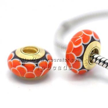 Orange lotus 18K 585 gold-plated Murano Glass Beads Charms Fits European jewelry Bracelets