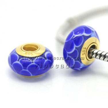 blue lotus 18K 585 gold-plated Murano Glass Beads Charms Fits European jewelry Bracelets