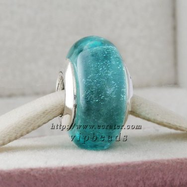 S925 Silver Turquoise fluorescence Murano Glass Beads Charms Fits European jewelry Bracelets