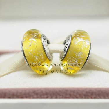 S925 Silver yellow fluorescence Murano Glass Beads Charms Fits European jewelry Bracelets
