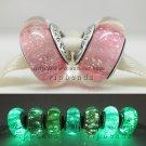 S925 Silver Gouache fluorescence Murano Glass Beads Charms Fits European jewelry DIY Bracelets