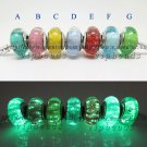 7pcs S925 Silver Disney fluorescence Murano Glass Beads Charms Fits European jewelry DIY Bracelets