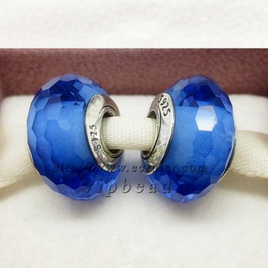 S925 Silver blue faceted Murano Glass Beads Charms fit European jewelry bracelet 093