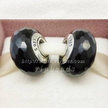 S925 Silver black faceted Murano Glass Beads Charms fit European jewelry bracelet 095