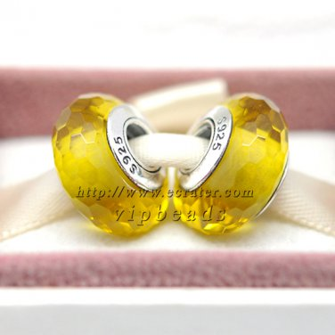 S925 Silver yellow faceted Murano Glass Beads Charms fit European jewelry bracelet 226