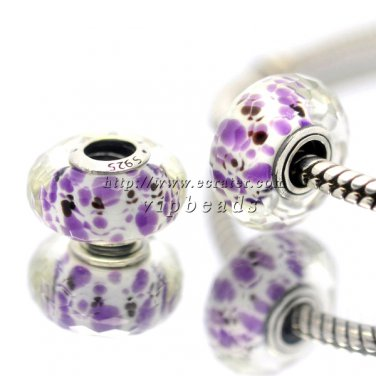 S925 Silver Purple spots faceted Murano Glass Beads Charms fit European jewelry bracelet 239