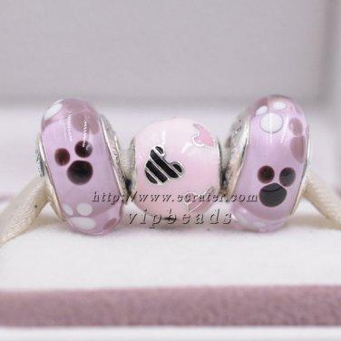 2016 Woman jewelry Disney Pink enamel jewelry set 925 sterling silver Charm Beads