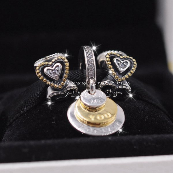 S925 Sterling Silver Gold-plated Heart Pendants moon charm Jewelry Set Fit European charms Bracelet