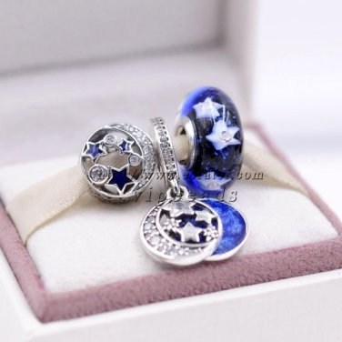 NEW Jewelry Set Blue Star Charm Set beads S925 Silver IFit European Woman charm Bracelets