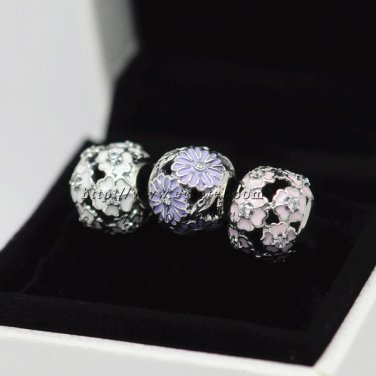 S925 Silver New Style Charm April Showers Bring May Flowers Jewelry Sets fit Pandora charm bracelets