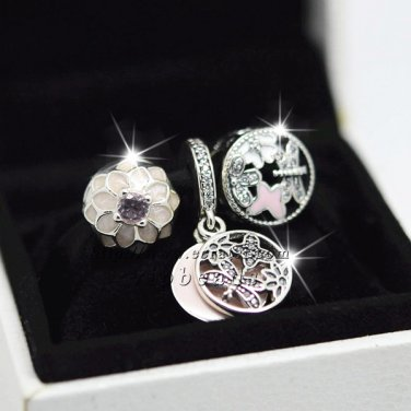 S925 Sterling Silver with Mixed Enamel CZs with Charm beads Fit European Bracelet