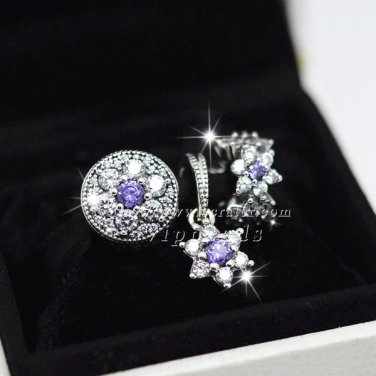 925 Sterling Silver with Purple and Clear Cz Charm Fit European Bracelet Jewelry Sets
