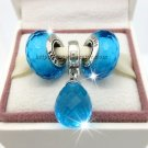 S925 Sterling Silver Aqua Faceted Screw Core Murano Glass Beads and Dangle Gift