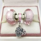 S925 Sterling Silver Pink Faceted Murano Glass Beads and Bouquet Dangle Jewelry