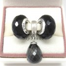 NEW S925 Sterling Silver Black Faceted Screw Core Murano Glass Beads Jewelry Set