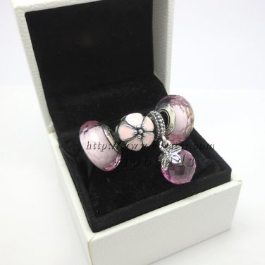 NEW S925 Sterling Silver Murano Glass With Pink Butterfly Hanging Charm