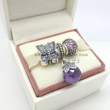 NEW S925 Sterling Silver Butterfly Kiss Pendant Charm Jewelry Set