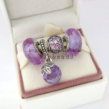 NEW S925 Sterling Silver Murano Glass Beads with Morning Butterfly Lavender CZ Dangle Charm