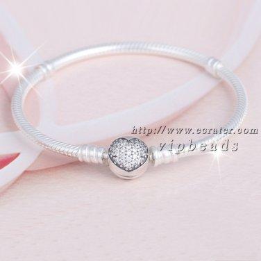 2017 Valentine S925 Silver Bracelet Signature Clasp Sparkling Heart Clear CZ Bracelet