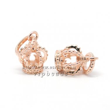 NEW Rose Gold Plated Pendant Crown Charm Beads Fit European women Jewelry Charm Bracelets