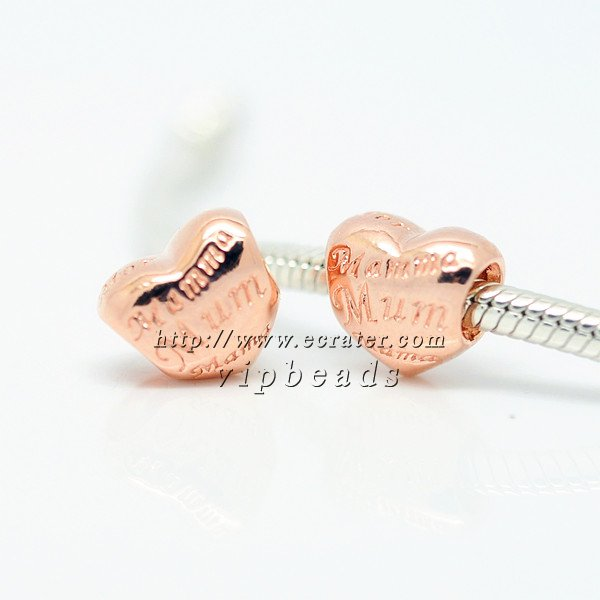 NEW Rose Gold Plated Mother's Heart Charm Beads Fit European Woman jewelry charm Bracelets