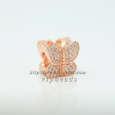 NEW Rose Gold Plated Plating Sparkling Butterfly with Clear CZ Pave Charm Beads