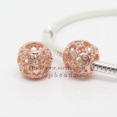 Rose Gold Plated In The Spotlight with Clear CZ Charm Bead Fit European Jewelry Charm Bracelets