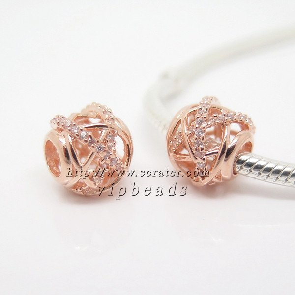 NEW Rose Gold Plated Galaxy with Clear CZ Charm Bead Fit European Jewelry Charm Bracelets
