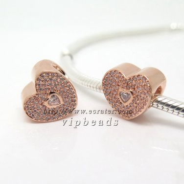 NEW Rose Gold Plated Sweetheart with Clear CZ Charm Bead Fit European Jewelry Charm Bracelets