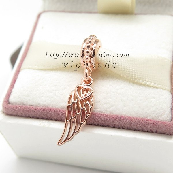 Rose Gold Plated Love Guidance Angel Wing Dangle Charm Bead Fit European Jewelry Charm Bracelets