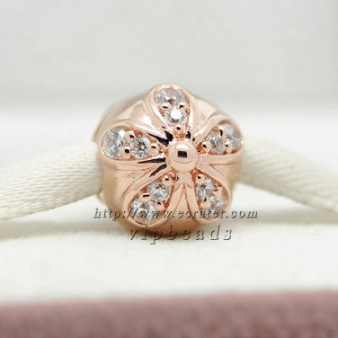 Rose Gold Plated Dazzling Daisy with Clear CZ Clip beads Fits European Jewelry Charm Bracelets