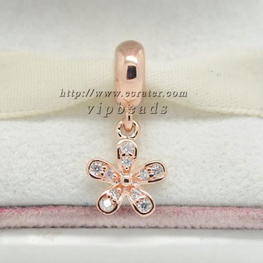 Rose Gold Plated Primula pendant Charm Bead Fit European Bracelets Woman Jewelry Gift