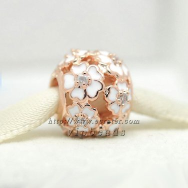 Rose Gold Plated Primrose Meadow with Clear CZ White Enamel Charm Fit Jewelry Charm Bracelets