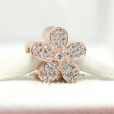 Rose Gold Plated Rose Dazzling Daisy with Clear CZ Charm Fits European Jewelry Charm Bracelets