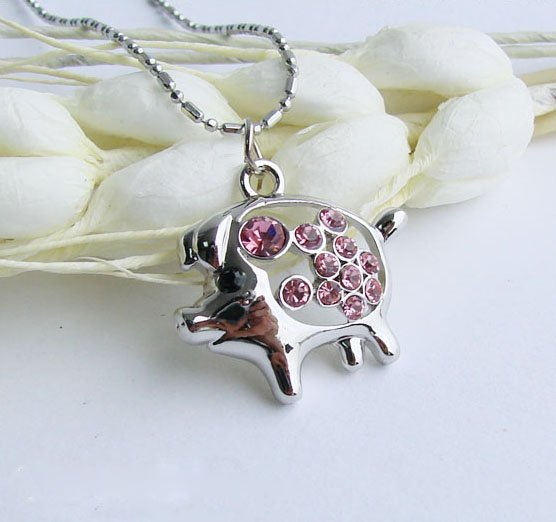 Cute Piggy Crystal Necklace