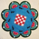 """Picnic"" Watermelon Candle Mat Penny Rug Ants Flowers And Blanket PATTERN #167"