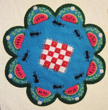 """""""Picnic"""" Watermelon Candle Mat Penny Rug Ants Flowers And Blanket PATTERN #167"""