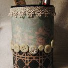 Button and Lace Pencil or Brush Holder #171
