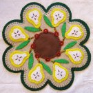 """""""What A Pear"""" Pear Candle Mat Penny Rug With Flowers PATTERN #152"""