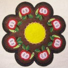 """An Apple A Day"" Worm Candle Mat Penny Rug With Vines and Buds PATTERN #153"