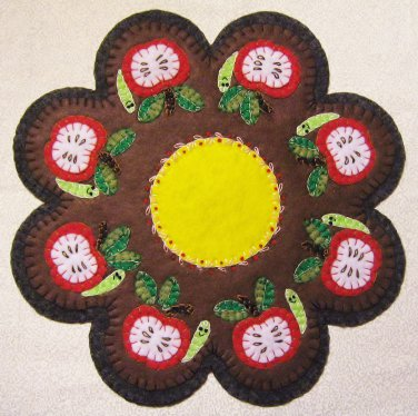 """""""An Apple A Day"""" Worm Candle Mat Penny Rug With Vines and Buds PATTERN #153"""