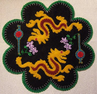 """""""Dragon"""" Lantern Candle Mat Penny Rug With Flowers PATTERN #154"""