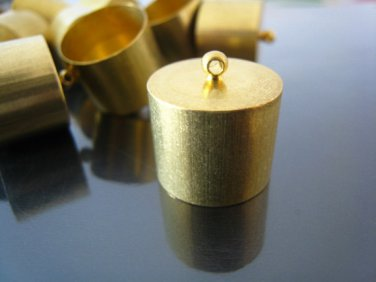 Finding - 2 pcs Gold Round Very Large Tone Cord Buckle End Cap with Loop ( inside 17mm Diameter )