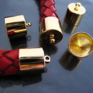 Finding - 4 pcs Gold Round Large Tone Cord Buckle End Cap with Loop ( inside 10mm Diameter )