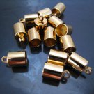 Finding - 6 pcs Gold Round Large Tone Cord Buckle End Cap with Loop ( inside 7mm Diameter )
