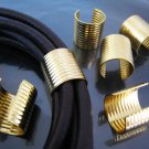 Finding - 6 pcs Gold Large Adjustable Crimp Round Tone Tube Curve Fold Over End Cap 16mm x 15mm