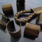 Finding - 6 pcs Antique Brass Adjustable Crimp Round Tone Tube Curve Fold Over End Cap 16mm x 15mm