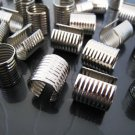 Finding - 6 pcs Silver Adjustable Crimp Round Tone Tube Curve Fold Over End Cap 12mm x 13mm